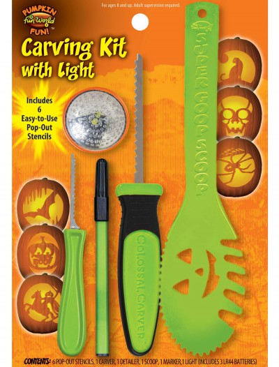 11 pc Green Colossal Carving Kit w/ Light