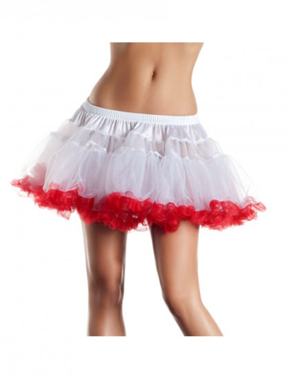 12 White and Red 2-Layer Petticoat