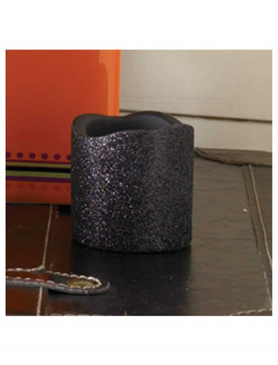 2 Inch Black Glitter LED Candle