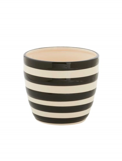 4.5 Inch Black and White Ceramic Striped Pot