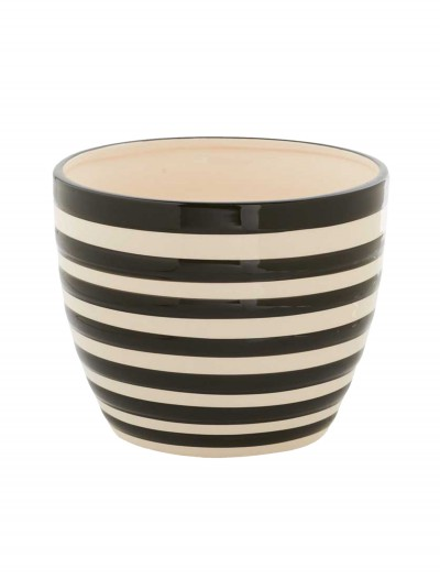 6 Inch Black and White Ceramic Striped Pot