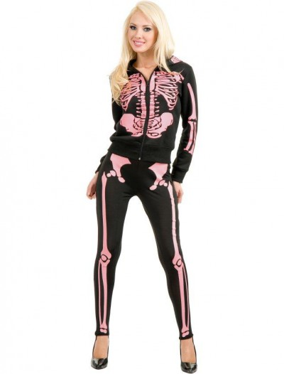 Ladies Skeleton Hoodie Sweatshirt (Pink) Adult