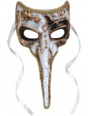 Long-Nosed Gold White Venetian Adult Mask