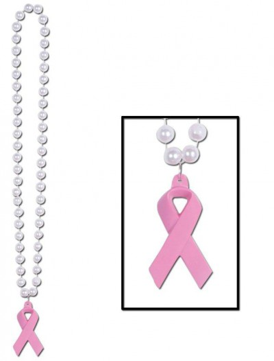 Beads with Pink Ribbon Medallion (1 count)