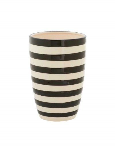 7.5 Inch Black and White Ceramic Striped Pot