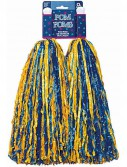 Plastic Pom Poms - Blue Yellow (2 count)