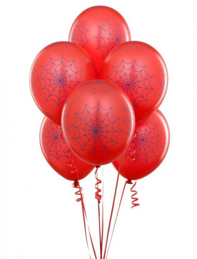 Red with Blue Spider Webs 11 Matte Balloons (6 count)