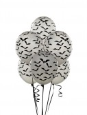 Silver with Black Bats Balloons (6 count)