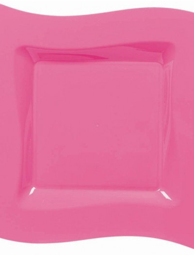 Hot Pink Wavy Square Plastic Dinner Plates