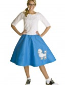 Adult Blue 50s Poodle Skirt