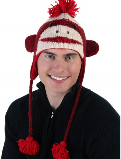 Adult Red Cute Sock Monkey Hat
