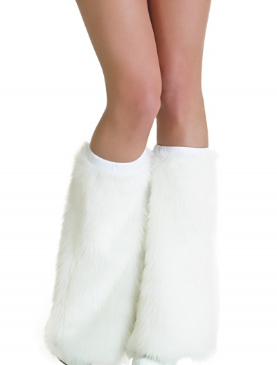 Adult White Furry Boot Covers