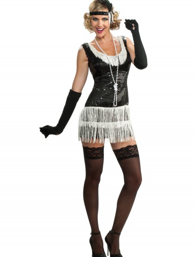 Black and White Sequin Flapper Costume