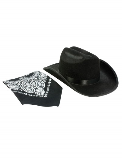 Black Cowboy Hat and Bandana Set