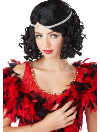 Black Ritzy Wig w/Headband