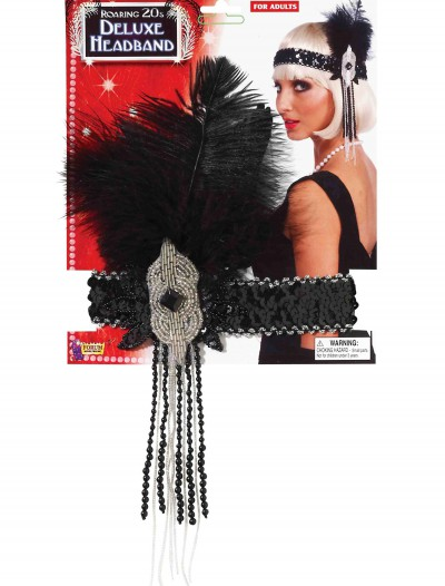 Black/Silver Deluxe Beaded Flapper Headband