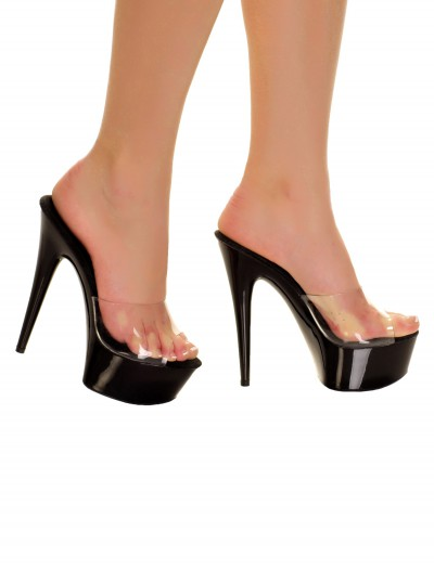 Black Slip In Heels with Clear Top