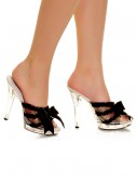 Clear Peep Toe Heel with Black Ribbon