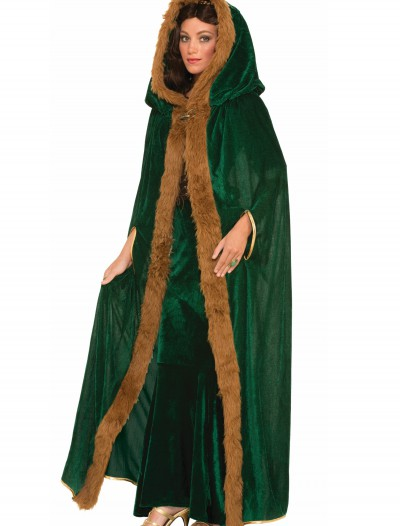 Faux Fur Trimmed Green Cape