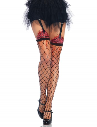Fence Net Thigh Highs w/Bleeding Wound