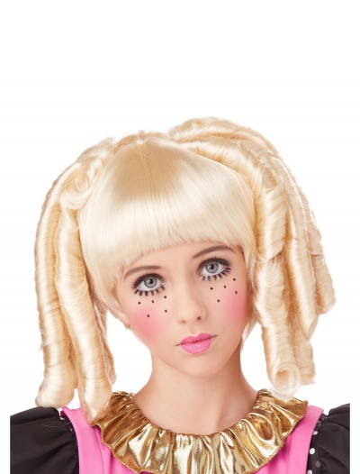 Girls Blonde Baby Doll Curls Wig with Bangs