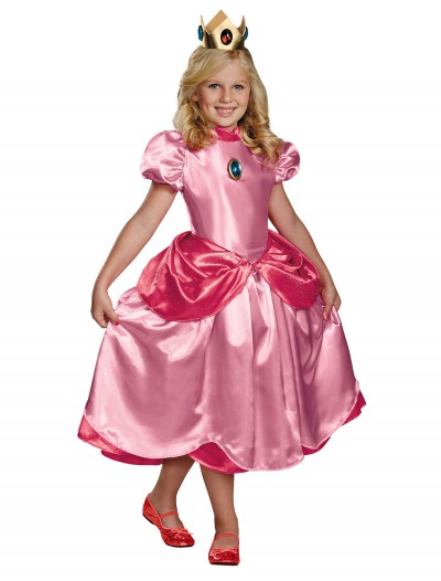 Girls Deluxe Princess Peach Costume