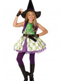 Girls Green Polka Dot Witch Costume