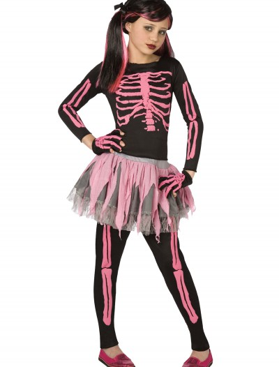 Girls Pink Punk Skeleton Costume