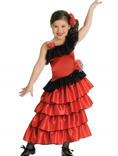 Girls Spanish Flamenco Dancer Costume