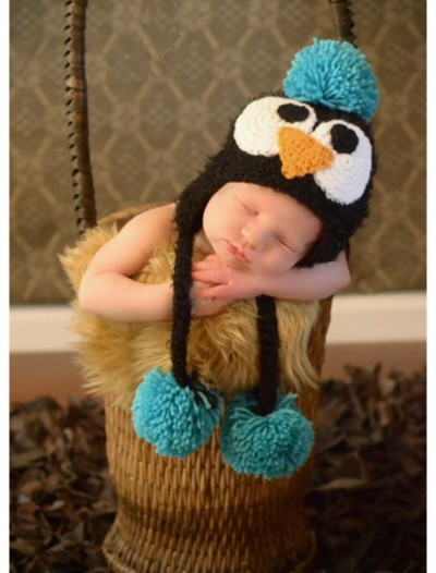 Infant Black Feather Penguin Hat with Blue Accents