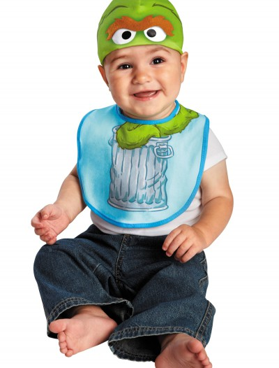 Infant Oscar the Grouch Hat and Bib Set
