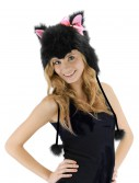 Kitty Hoodie Hat Black