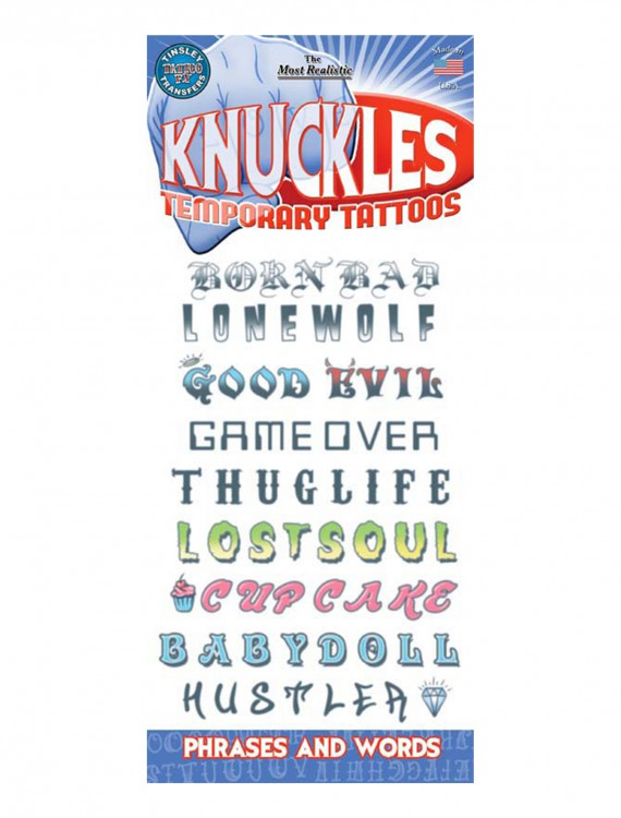 Knuckle Phrases Temporary Tattoos