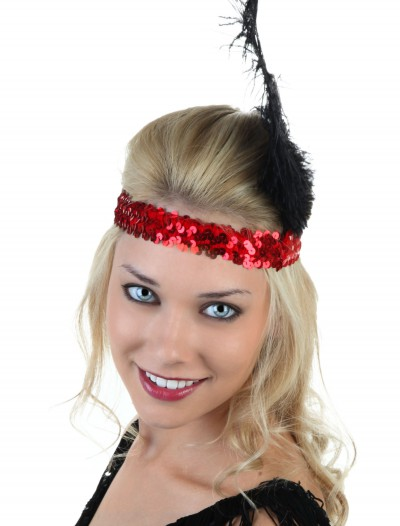 Red and Black Flapper Headband
