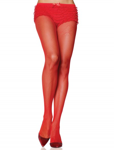 Red Nylon Fishnet Pantyhose