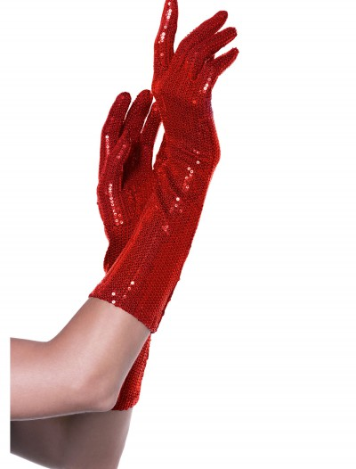 Red Sequin Elbow Length Gloves