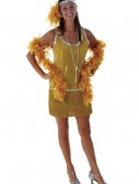 Sequin & Fringe Gold Flapper Costume Plus Size