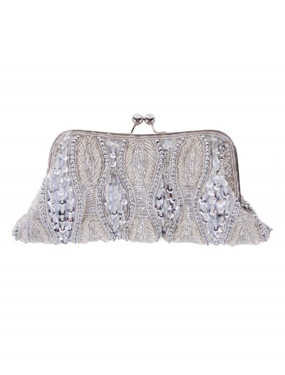 Silver Beaded Bag with Long Chain