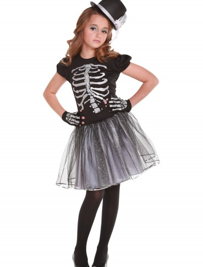 Girls Silver Skeleton Costume