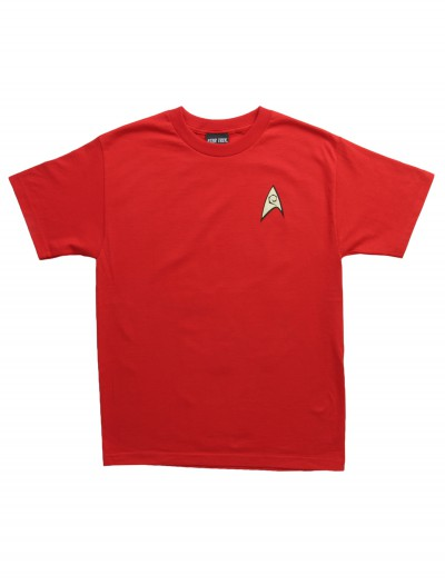 Star Trek Engineering Uniform On Red TShirt