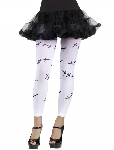 Stitched Footless Tights White