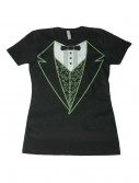 Womens Black Irish Tuxedo Costume T-Shirt