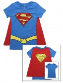 Womens Super Girl V-Neck Cape T-Shirt