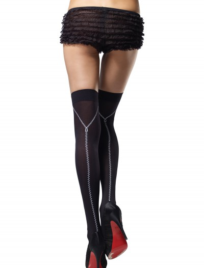 Zipper Print Thigh High Stockings