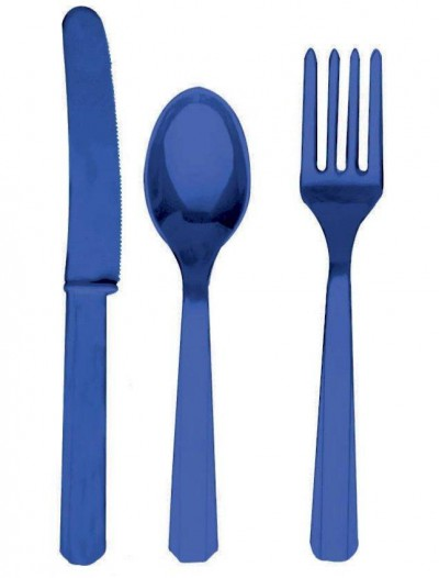 Bright Royal Blue Forks  Knives Spoons (8 each)