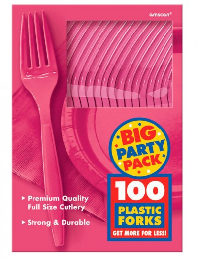 Bright Pink Big Party Pack - Forks (100 count)