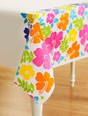 Hibiscus White Plastic Tablecover