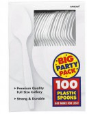 Frosty White Big Party Pack - Spoons (100 count)