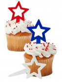 Red  White  and Blue Star Cupcake Picks (12 count)