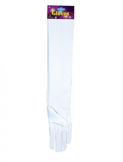 Elbow Length Nylon Gloves (White)